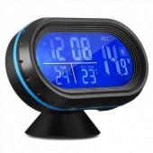 Автомобільний годинник VST з термометром і вольтметром 7009V