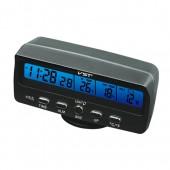 Автомобільний годинник з термометром і вольтметром VST 7045V