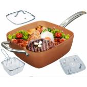 Сковорода фритюрниця пароварка Copper cook deep square pan
