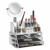 Акриловый органайзер для косметики с зеркалом Cosmetic Storage Box  JN 878