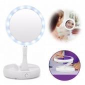 Дзеркало світлодіодне з LED підсвічуванням для макіяжу My Fold AWAY MIRROR розкладне кругле